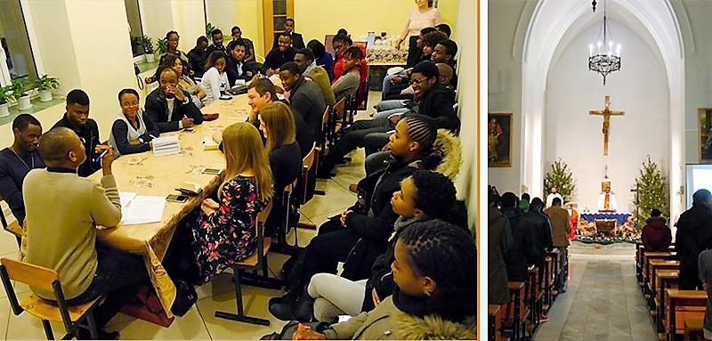 Germain Mukinisa, SVD de Congo, entre estudiantes en Rusia