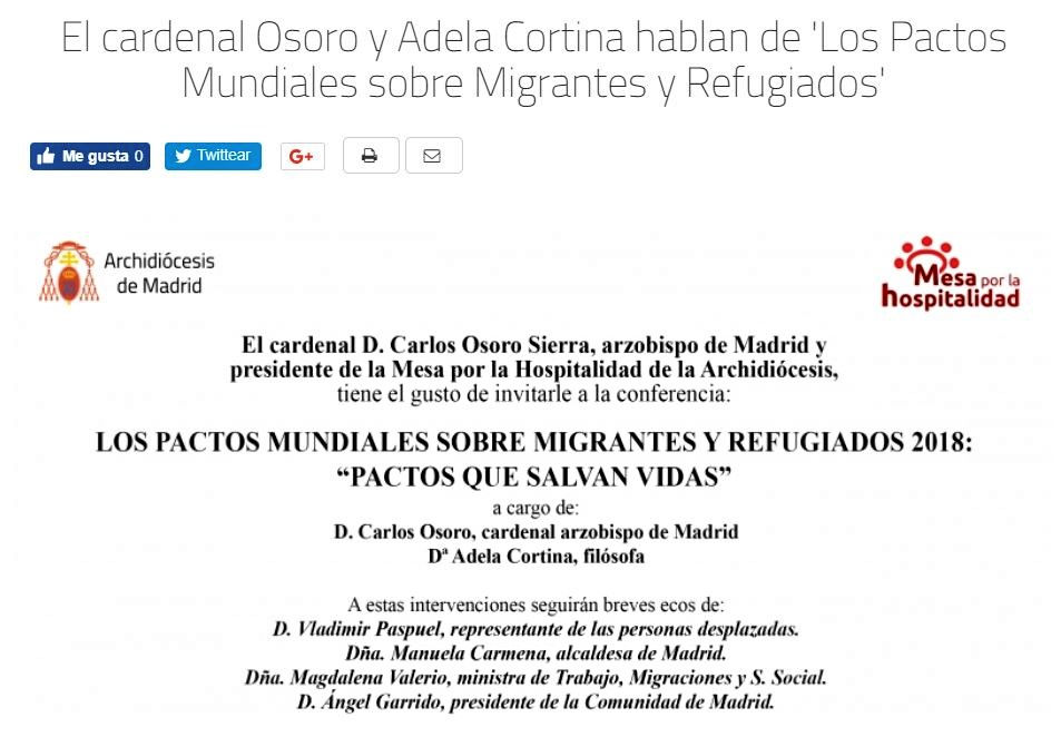 Unos en Nemi, otros aquí, con Carlos, Adela, Carmena, Francisco y la ONU